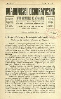 Wiadomości Geograficzne R. 6 z. 10 (1928)