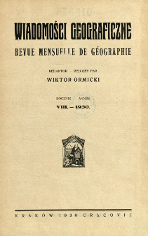 Wiadomości Geograficzne R. 8 z. 1 (1930)