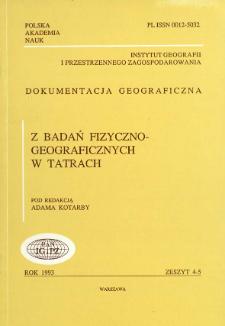 Z badań fizyczno-geograficznych w Tatrach = Physical geography study in the Tatra Mountains