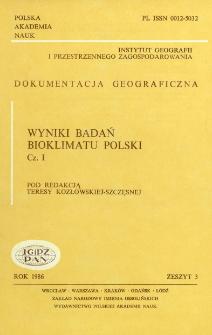 Wyniki badań bioklimatu Polski. Cz. 1 = Results of bioclimatic research of Poland