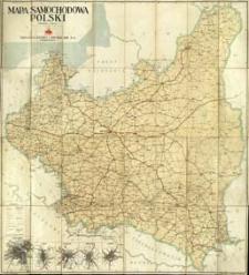 Mapa samochodowa Polski 1:1 000 000 z planami dróg wyjazdowych Warszawy, Krakowa, Poznania, Lwowa i Łodzi