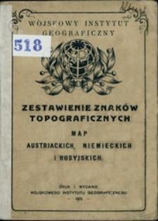 Zestawienie znaków topograficznych map: austrjackich, niemieckich i rosyjskich