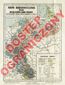 Mapa narodowościowa ziem dotychczasowego zaboru pruskiego : na podstawie urzęd. spisu ludności z 1910 r.