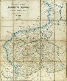 Karta dróżna Królestwa Polskiego z pokazaniem odległości na traktach pocztowych i bocznych