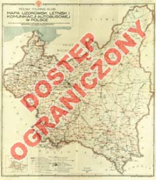 Mapa uzdrowisk, letnisk i komunikacji autobusowej w Polsce = Carte de stations climatiques, villegiatures et communications d'autocars en Pologne