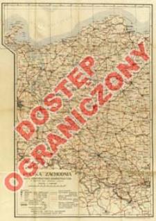 Polska Zachodnia : mapa komunikacyjno-administracyjna z słownikiem nazw niemiecko-polskim