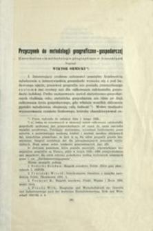 Przyczynek do metodologji geograficzno-gospodarczej = (Contribution a la méthodologie géographique et économique)