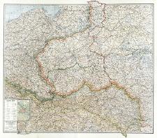Królestwo Polskie i przyległe prowincye Austryi, Niemiec i Rosyi (z oznaczeniem granicy okupacyi austryackiej i niemieckiej) w skali 1:750.000