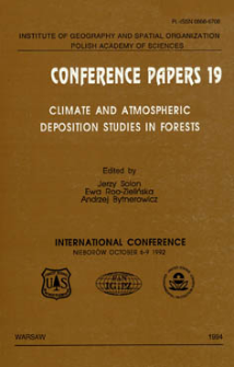 Climate and atmospheric deposition studies in forests : international conference, Nieborów October 6-9 1992