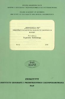 """""""Mongolia 96"""" : niektóre zagadnienia badawcze ekspedycji : raport = The second Toruń Geographical Expedition """"Mongolia 96"""""""