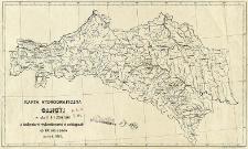 Karta hydrograficzna Galicyi w skali 1:1 250 000 z izohyetami wykreślonemi w odstępach co 100 mm. opadu za rok 1887