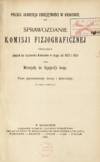 Sprawozdanie Komisji Fizjograficznej T. 58-59 (1923 i 1924)