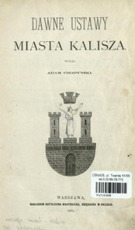 Dawne ustawy miasta Kalisza