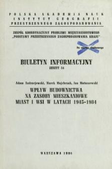 Wpływ budownictwa na zasoby mieszkaniowe miast i wsi w latach 1945-1984