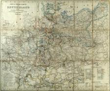 Post - & Reise Karte von Deutschland und der Nachbarstaaten nach F. Handtke's Post-u. Reise-Karte