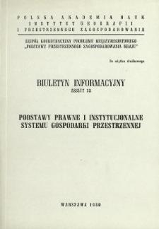 Podstawy prawne i instytucjonalne systemu gospodarki przestrzennej : zbiór opracowań