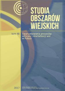 Uwarunkowania odnowy wsi w Polsce. Przypadek wsi Spycimierz = Determinants of rural renewal programme. Case of Spycimierz village