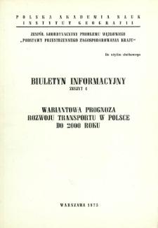 Wariantowa prognoza rozwoju transportu w Polsce do 2000 roku