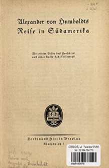 Alexander von Humboldts Reise in Südamerika