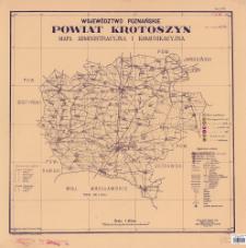 Województwo poznańskie, powiat Krotoszyn : mapa administracyjna i komunikacyjna