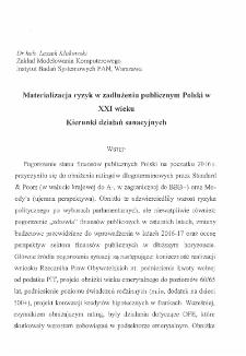 Materializacja ryzyk w zadłużeniu publicznym Polski w XXI wieku : Kierunki działań sanacyjnych