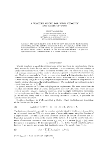 A Wavelet Model for Wind Velocity and Gusts of Wind