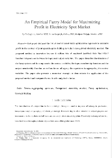An empirical fuzzy model for maximizing profit in electricity spot market