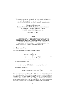 The asymptotic growth of optimal solutions values of random m-constraint knapsacks