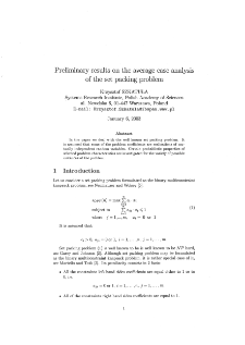 Preliminary results on the average case analysis of the set packing problem