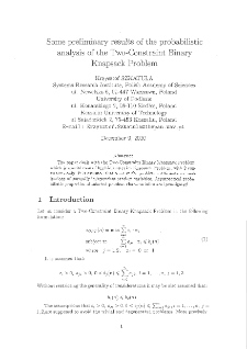 On some preliminary results of the probabilistic analysis of the two-constraint binary knapsack problem