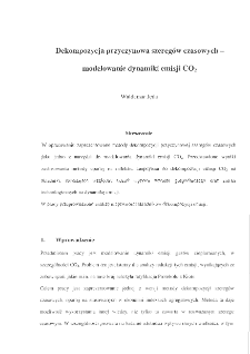 Dekompozycja przyczynowa szeregów czasowych – modelowanie dynamiki emisji CO2