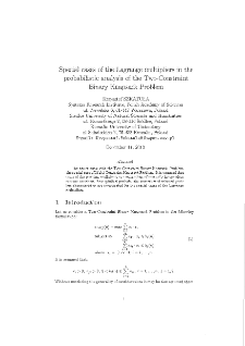 Special cases of the Lagrange multipliers in the probabilistic analysis of the Two-Constraint Binary Knapsack Problem