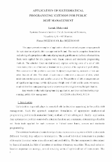 Application of Mathematical Programming Methods for Public Debt Management