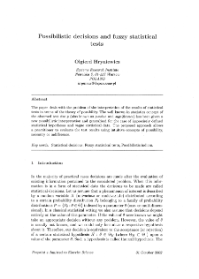 Possibilistic decisions and fuzzy statistical tests