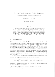Simple Proofs of Second order Necessary Conditions for Broken Extremals
