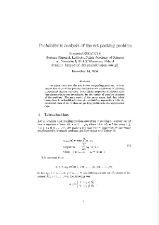 Probabilistic analysis of the set packing problem