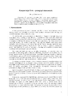 Kooperacja firm - przegląd stanowisk