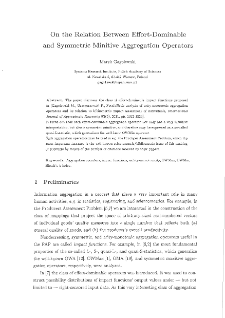 On the relation between effort-dominable and symmetric minitive aggregation operators
