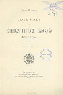 Materyały do embryogenii i histogenii równonogów (Isopoda)