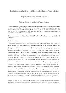 Prediction of Reliability – Pitfalls of Rusing Pearson's Correlation