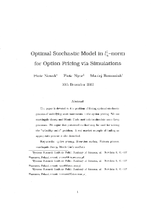 Optima Stochastic Model In - Norm for Option Pricing Via Simulations