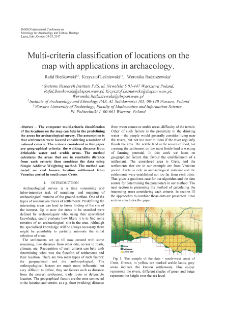 Multi-criteria classification of locations on the map with applications in archaeology
