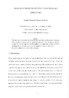 Design of Problem Specific Evolutionary Operators