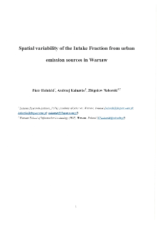 Spatial Variability of the Intake Fraction from Urban Emission Sources in Warsaw