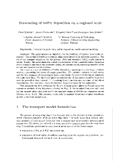 Forecasting of sulfur deposite on a regional scale