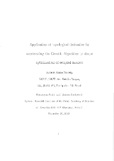 Applications of Topological Derivative for Accelerating the Genetic Algorithm in Shape Optimization of Coupled Models