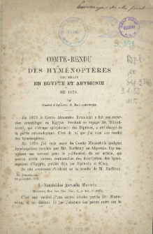 Comte-Rendu des Hyménoptères recueillis en Egypte et Abyssinie en 1873