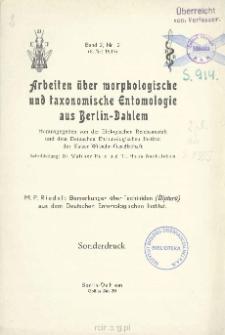 Bemerkungen über Tachiniden (Diptera) aus dem Deutschen Entomologischen Institut