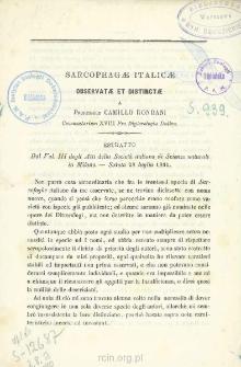 Sarcophagæ italicæ observatæ et distinctæ