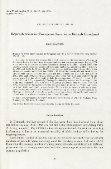 Studies on the European hare. 44. Reproduction in European hare in a Danish farmland